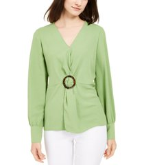 alfani long-sleeve twist-waist top, created for macy's