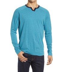 men's good man brand varsity v-notch long sleeve men's t-shirt, size large - blue