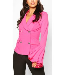 frill sleeve double breasted blazer, hot pink