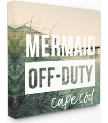 "stupell industries mermaid off duty cape cod canvas wall art, 24"" x 24"""