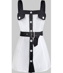 button through contrast belted tank top