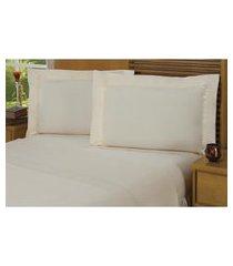 jogo de cama queen plumasul premium luxury 4 peças algodão bege