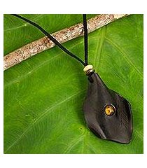 men's tiger's eye and leather necklace, 'thai cowboy in black' (thailand)