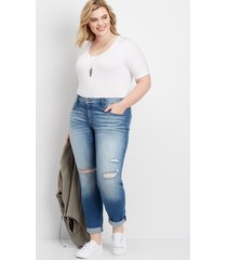 maurices plus size jeans womens kancan™ medium wash destructed boyfriend jeans blue