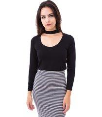 blusa moda vicio gola alta com decote e manga longa preto