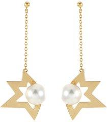 'comet' akoya pearl 18k yellow gold earrings