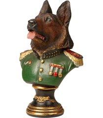 escultura decorativa de resina busto cachorro pastor alemão
