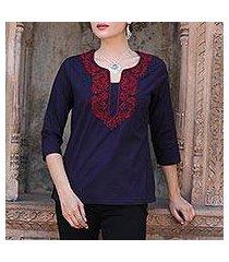 cotton tunic, 'indigo grandeur' (india)