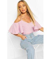 pastel cold shoulder cami top, lilac