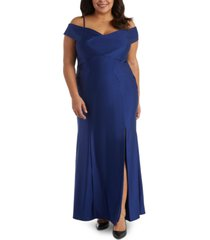 nightway plus size sateen cold-shoulder gown