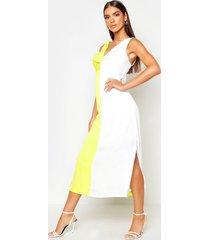 satin contrast twist front dress, yellow