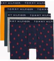 tommy hilfiger men's cotton stretch boxer brief 4pk green gables/gray heather/logo print on navy/autumn glory - s