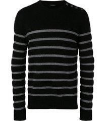 balmain shoulder button striped sweater - black
