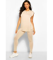 shoulder pad t-shirt and legging co-ord, stone