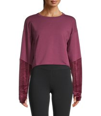 splendid women's cropped cotton-blend sweater - scarlet - size s