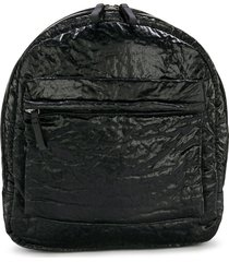 andorine crinkle effect zipped backpack - black