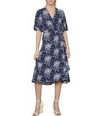 bcbgmaxazria women's floral-print faux wrap dress - pacific blue - size s