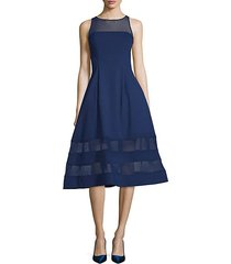 illusion-neck fit-&-flare dress