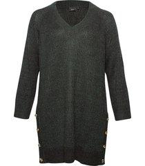 knitted dress plus slits klänning grön zizzi