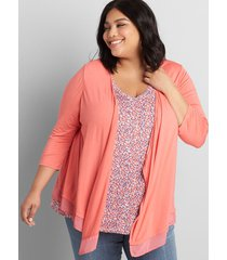 lane bryant women's lane essentials chiffon-trim drape-front cardigan 34/36 sun kissed coral