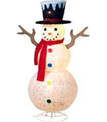 "sterling 48"" tall, lighted snowman with colored buttons, scarf and top hat"