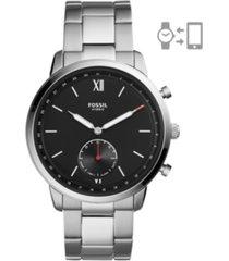fossil men's hybrid smart watch neutra silver-tone bracelet watch 44mm