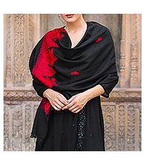 wool shawl, 'midnight romance' (india)