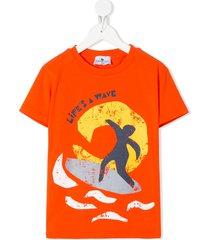 raspberry plum surf print t-shirt - orange