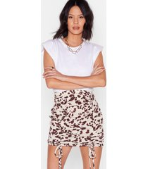 womens cow did this happen ruched mini skirt - white
