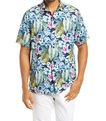 men's tommy bahama botanics men's floral short sleeve button-up silk shirt, size x-large - blue