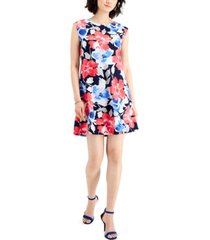 nine west printed fit & flare dress