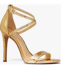 mk sandali antonia in pelle stampa pitone metallizzata - oro (oro) - michael kors