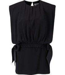 bib top crepe blouse