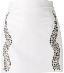 john richmond fitted stud-embellished skirt - white