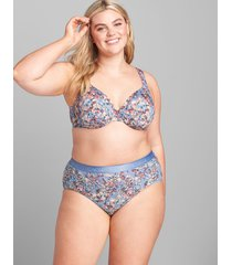 lane bryant women's cotton high-leg brief panty with wide waistband 34/36 watercolor garden