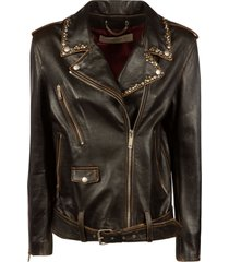 golden goose distressed studs decoration biker jacket
