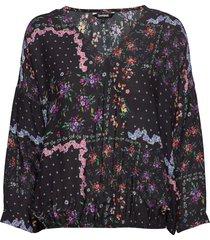blus rin blouse lange mouwen zwart desigual