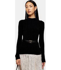 black chenille knitted top - black