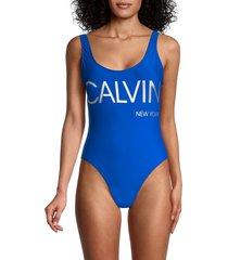 calvin klein women's logo one-piece swimsuit - klein blue - size l