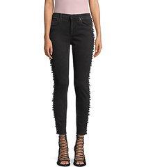 jackie faux pearl-embellished ankle skinny jeans
