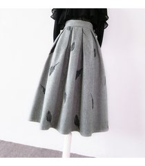 gray winter wool a line pleated skirt high waist midi skirt with feather pattern