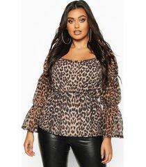 plus leopard mesh sleeve sqaure neck peplum top, brown