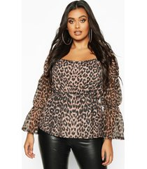 plus leopard mesh sleeve square neck peplum top, brown