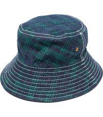 paccbet plaid check bucket hat - blue