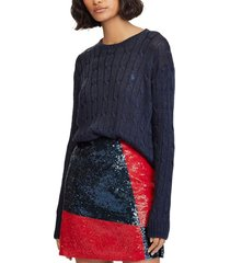 sweater mujer metallic cable azul polo