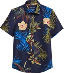 paisley & gray slim fit short sleeve swim shirt navy floral and ferns