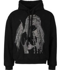 rhinestone princess blurry hoodie black