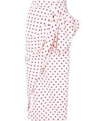 bambah polka dot print ruched skirt - white