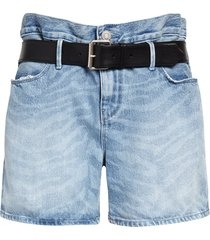 women's rta pierce belted high waist baggy denim shorts