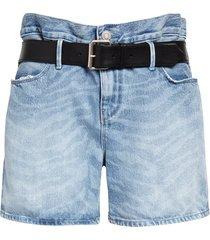 women's rta pierce belted high waist baggy denim shorts